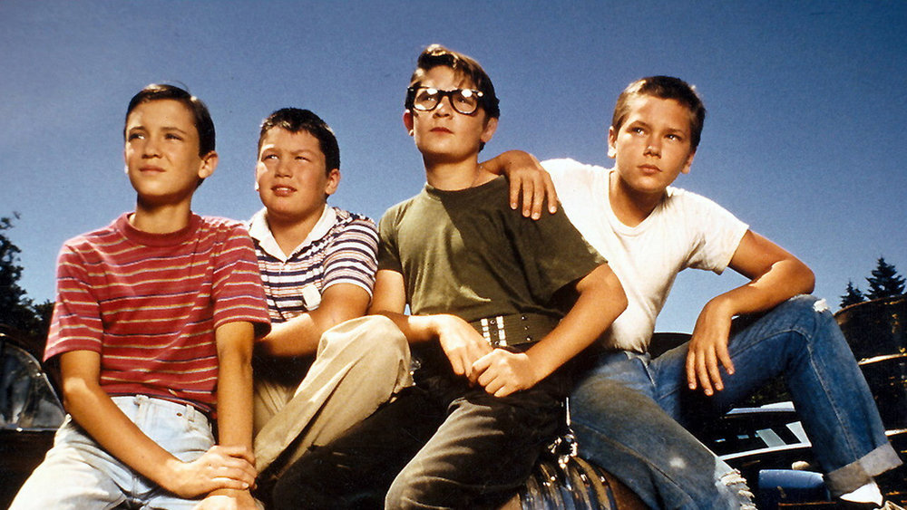 From left to right: Will Wheaton, Jerry O'Connell, Corey Feldman and River Phoenix.