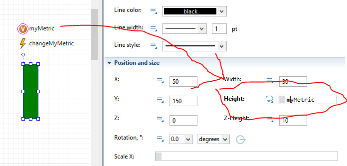 "Make the green rectangle change its height when ""myMetric"" changes."