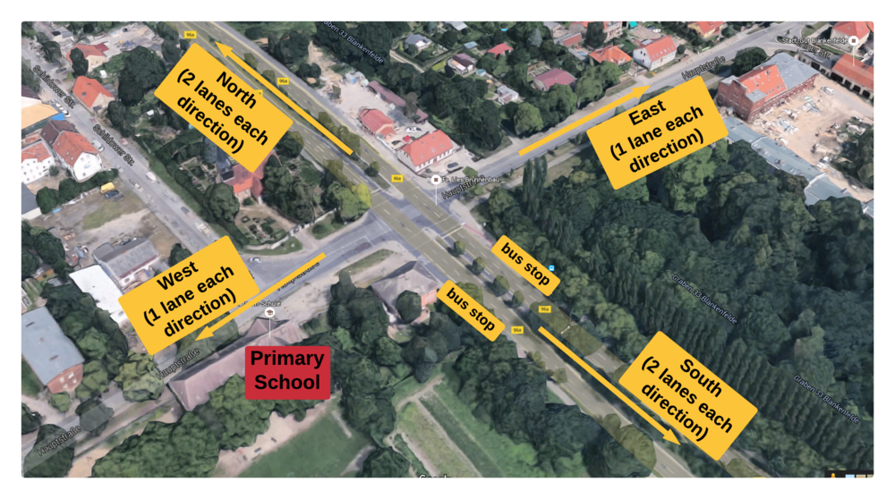 Overview of the crossroads in question. The school is in very close proximity.