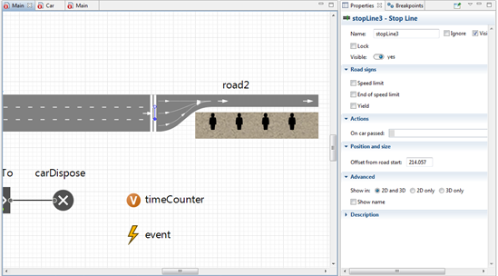 Figure 3: Stop lines, the event and variable used for manual traffic light