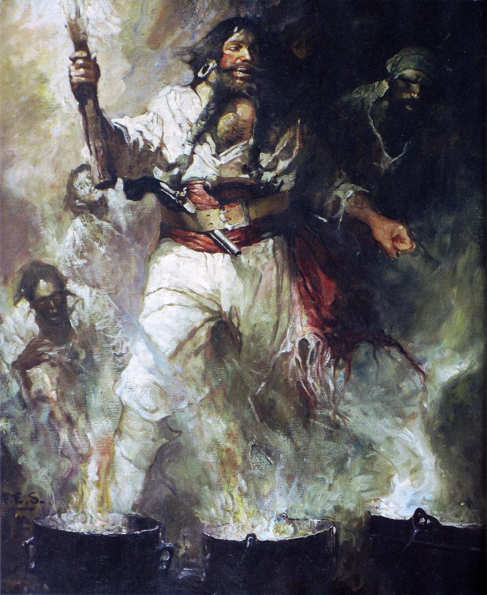 Blackbeard in smoke and flame  by Frank Schooner, 1922