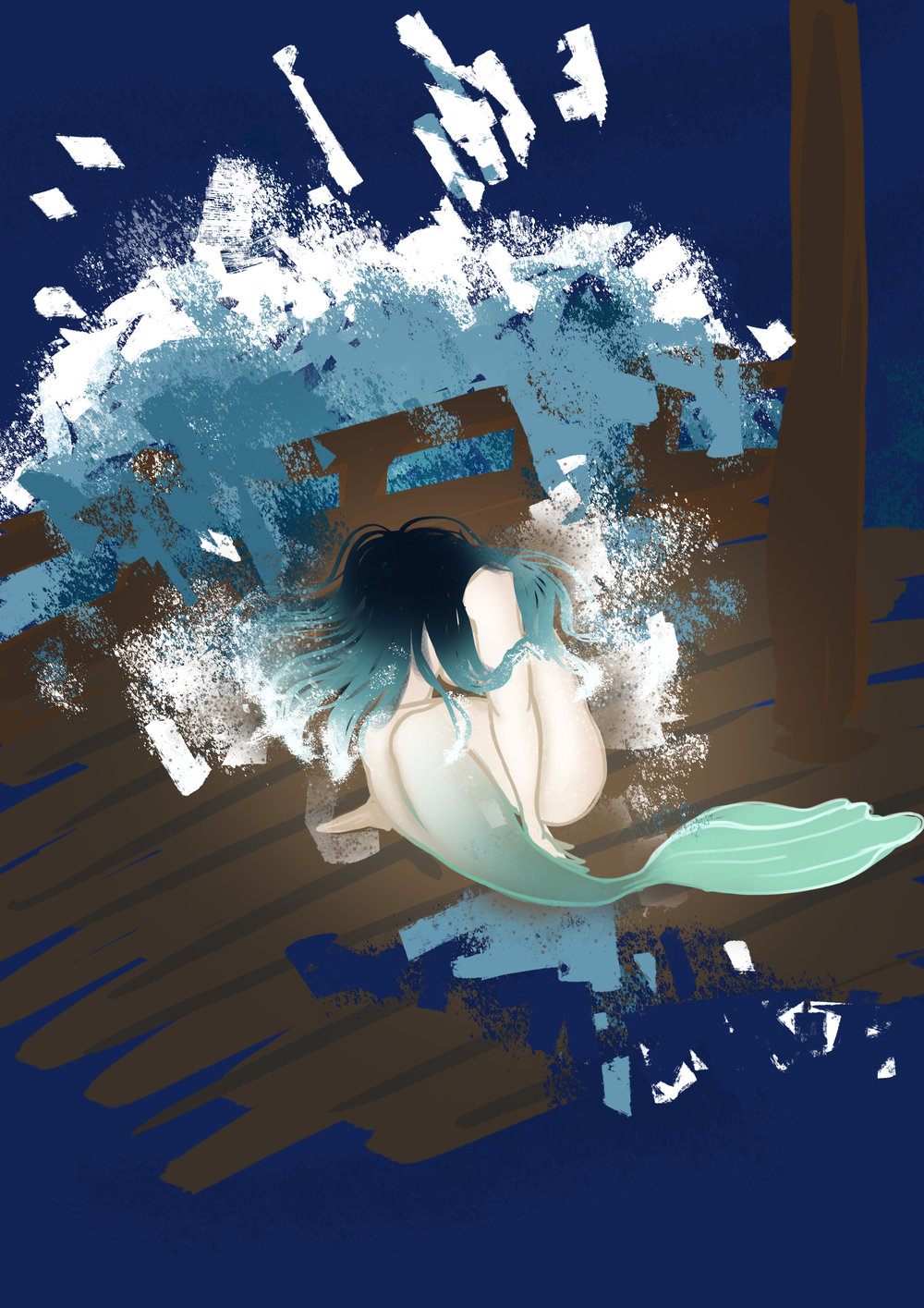 - This is the first scene I visualized when I got the idea for the story. This is The Sea's first appearance when she is washed aboard the the ship by a huge wave amidst a raging storm. This scene is the centerpiece of the story and should feel powerful and dramatic. However, here I drew her as a mermaid, but this has changed. I don't want to bring in mermaid references because I think it will muddle her character. She should look mysterious and powerful enough to unsettle a pirate crew, but still beautiful enough to intrigue the Captain. This was why I had the idea of a mermaid to being with because they are beautiful, but still something to fear and if sailors saw a mermaid they would be scared and try to plug their ears as to not succumb to her song. However, as I said, I think it might just confuse the message.