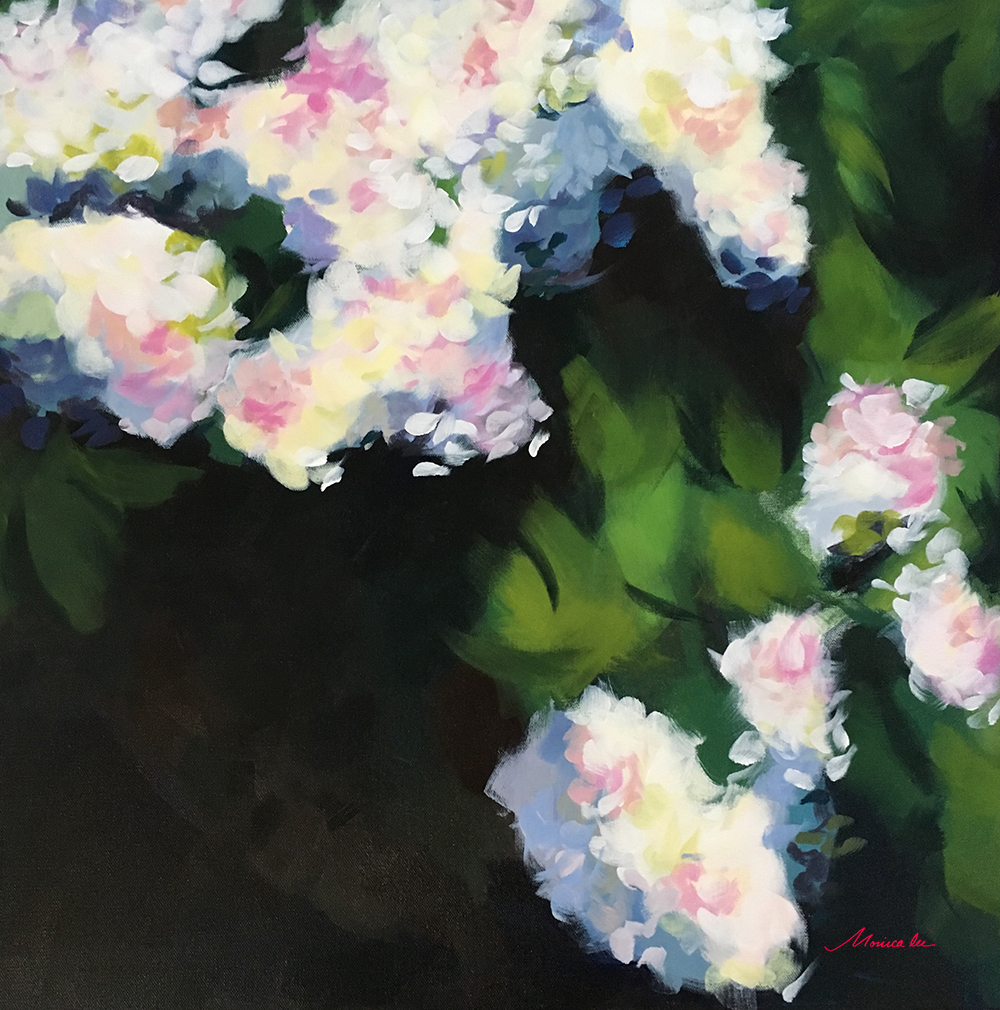 White Blossoms 24 x 24