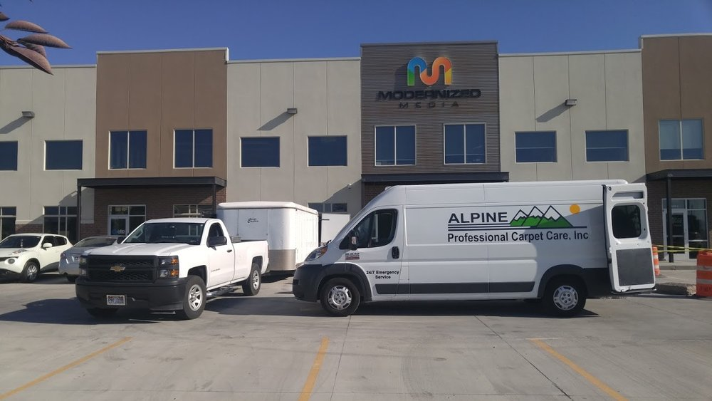 uSING OUR CARPET CLEANING VAN AND OUR CARPET CLEANING TRAILER TO CLEAN THE CARPETS IN THIS COMMERCIAL BUSINESS