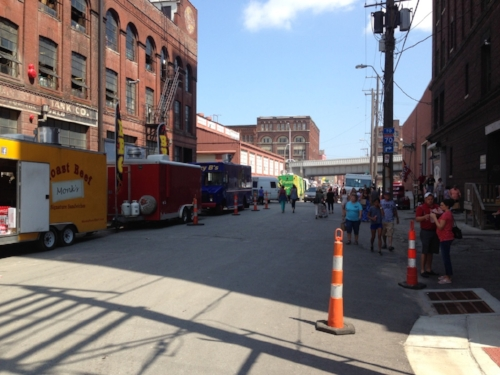 Food trucks line the streets in KC's West Bottoms vintage & antique shopping district on First Friday's weekends