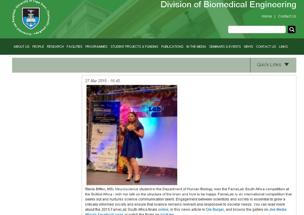 Stevie on the UCT Biomedical Engineering website