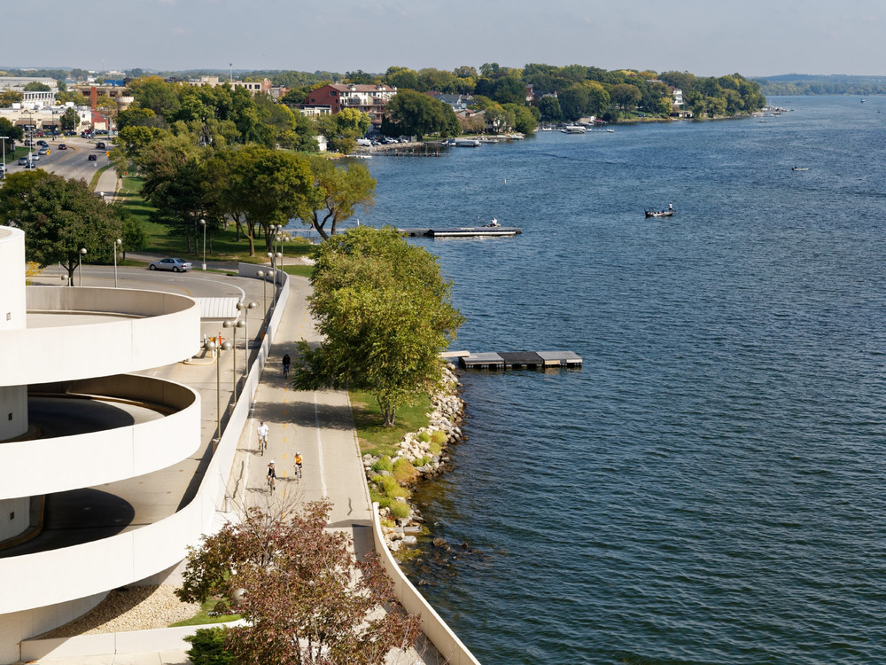 View of Capital City Bike Trail from Monona Terrace, 1/2 block from the Bellevue Apartments.