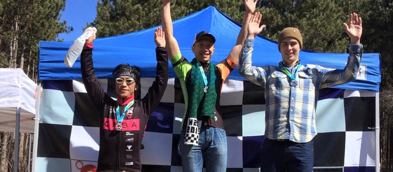 Larry Woo, on the top step of the podium at the first MTB Race of the 2015 Season.
