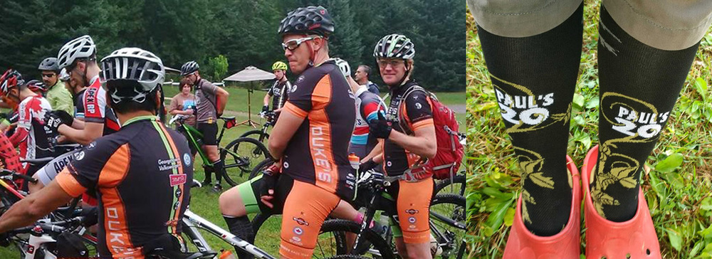 Alex, Barry and Bevin, prior to Paul's Dirty Enduro. Andrea models some fashionable socks.