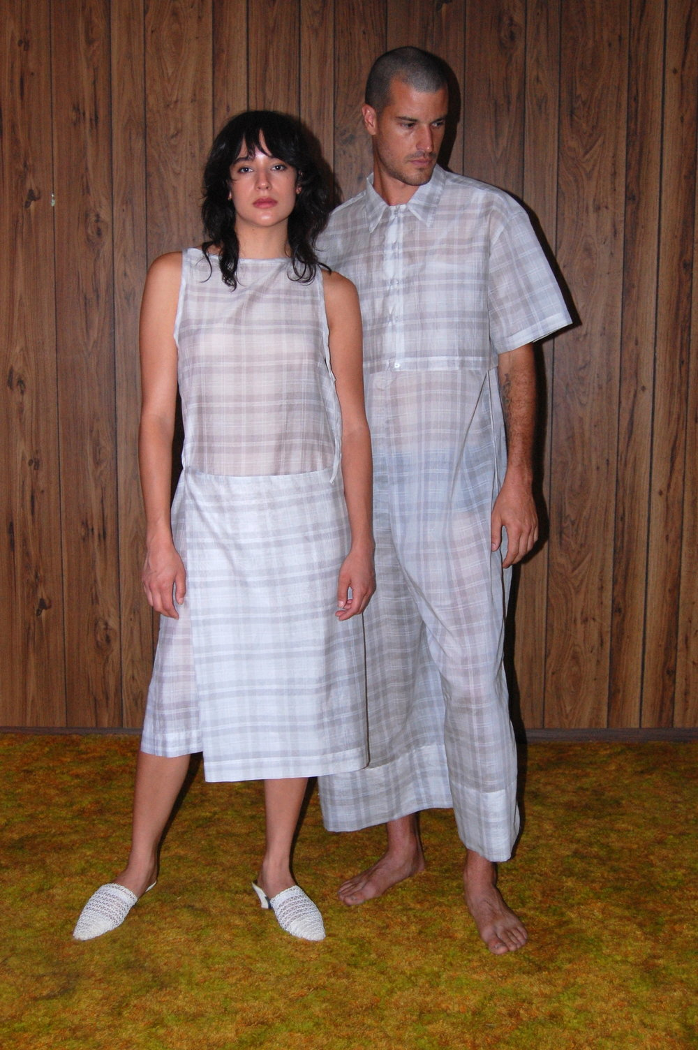 plaid apron dress, plaid big pant jumper, plaid crop both models2.JPG