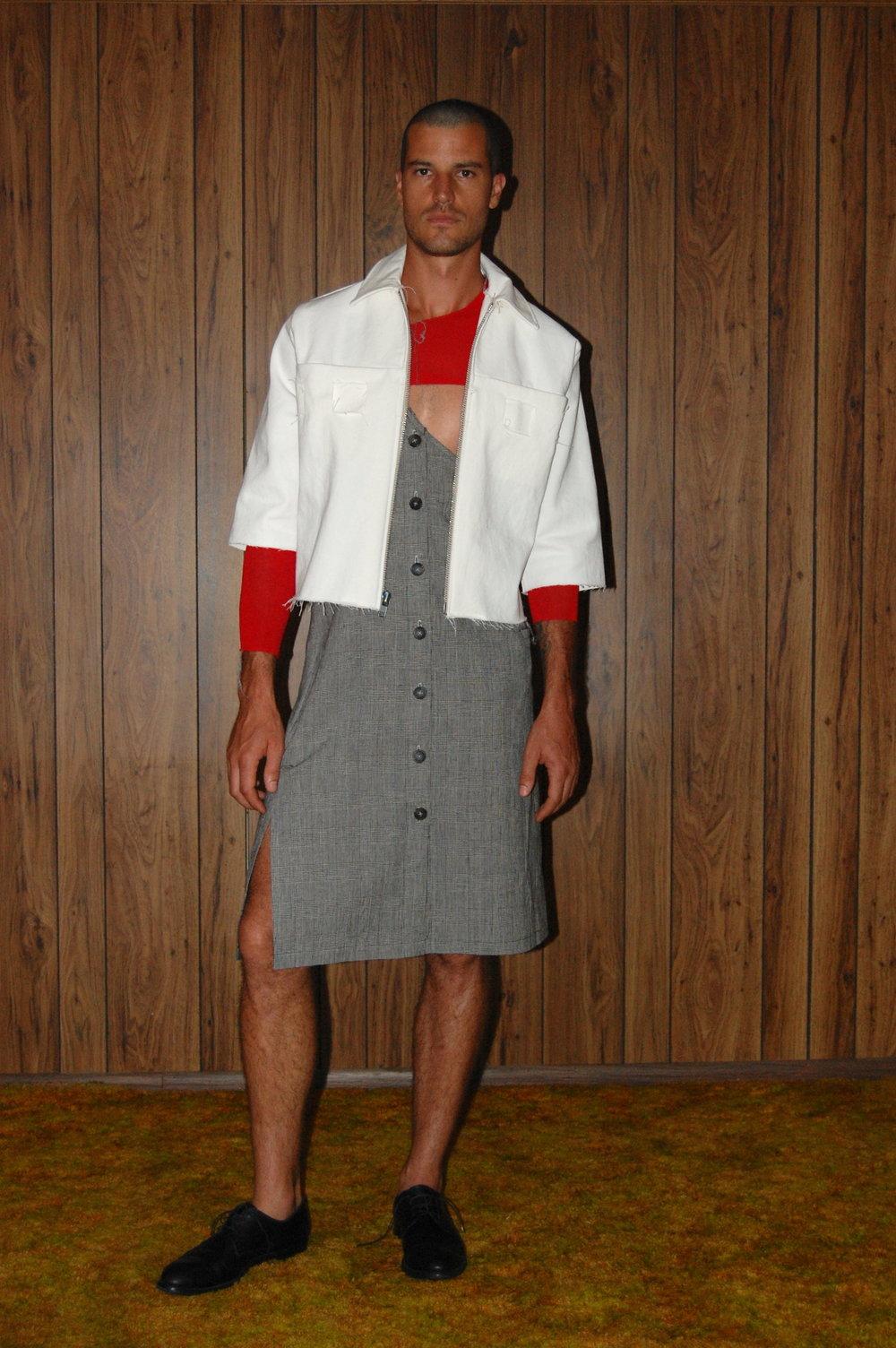 houndstooth one shoulder skirt, denim woven jacket.JPG