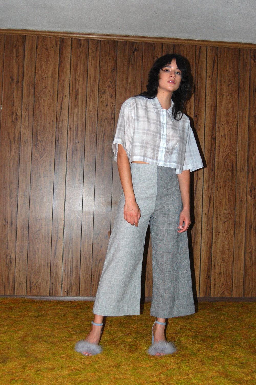 plaid crop, two tone pants 2.JPG