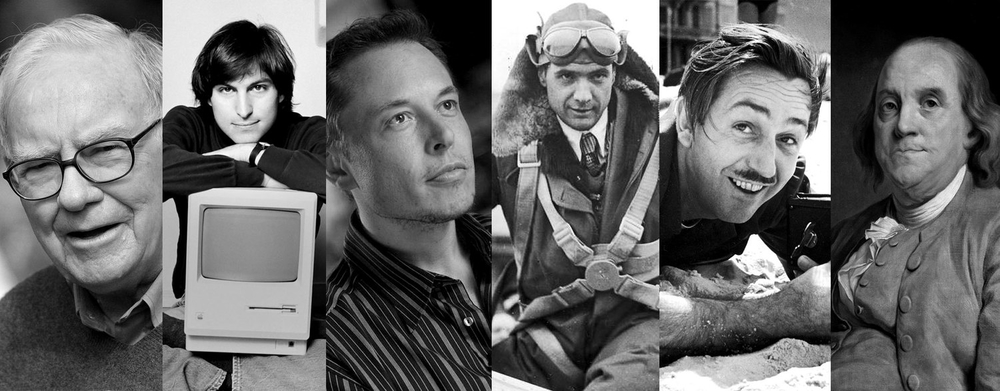 Creators and businessmen Warren Buffett, Steve Jobs, Elon Musk, Howard Hughes, Walt Disney and Benjamin Franklin.