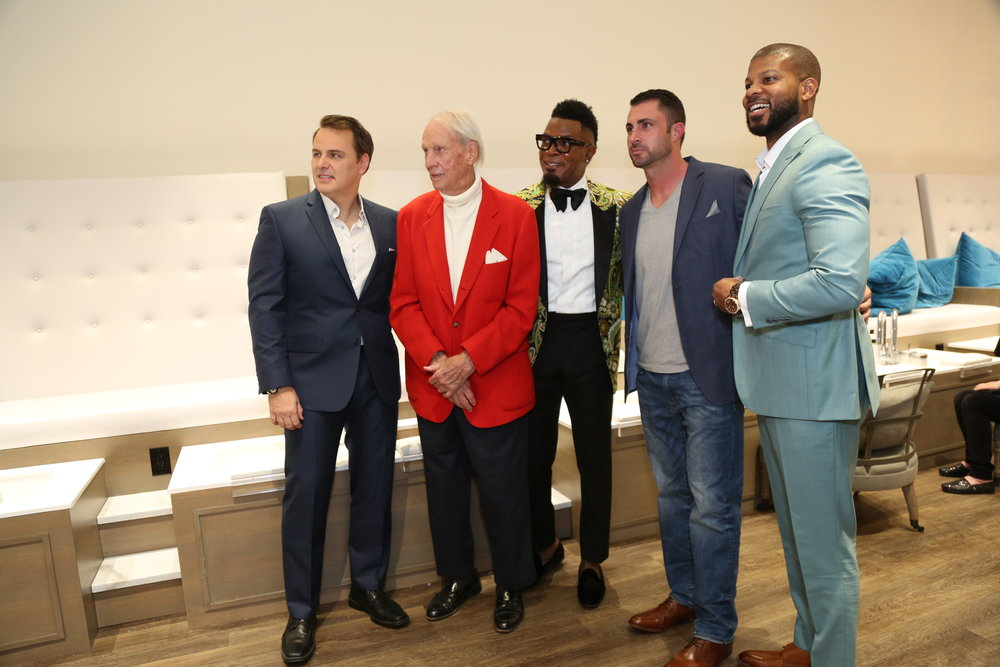 michael rinaudo with jack cashin honorary man of style , darrel johnson, trevor flow & khary wright. behind the scenes at sugarcoat chastain where the senior adults will receive their well deserved pampering during the holiday season starting december 4th through december 15.