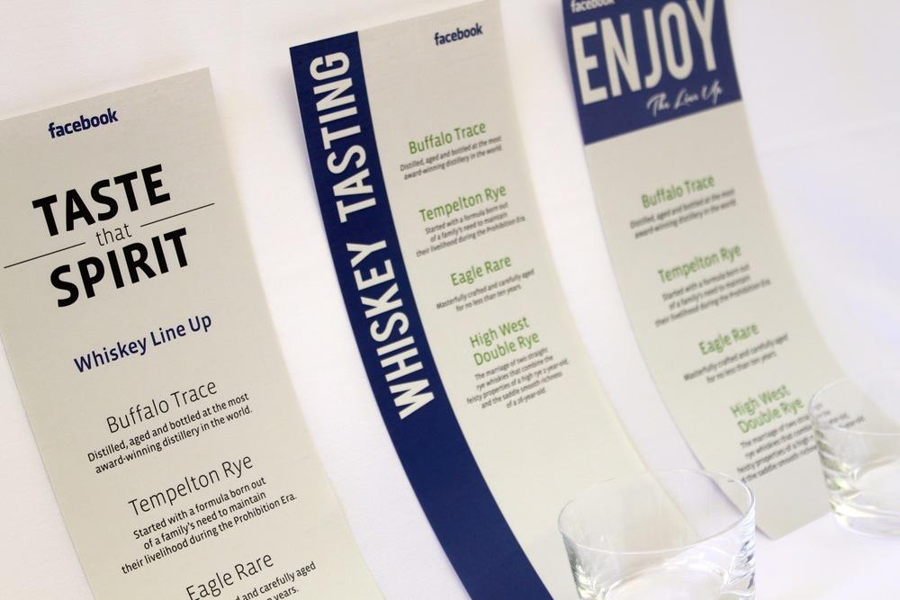 Whiskey tasting event menus & printing