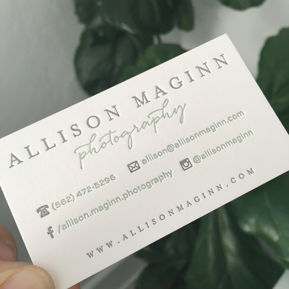 Letterpress business card design & print