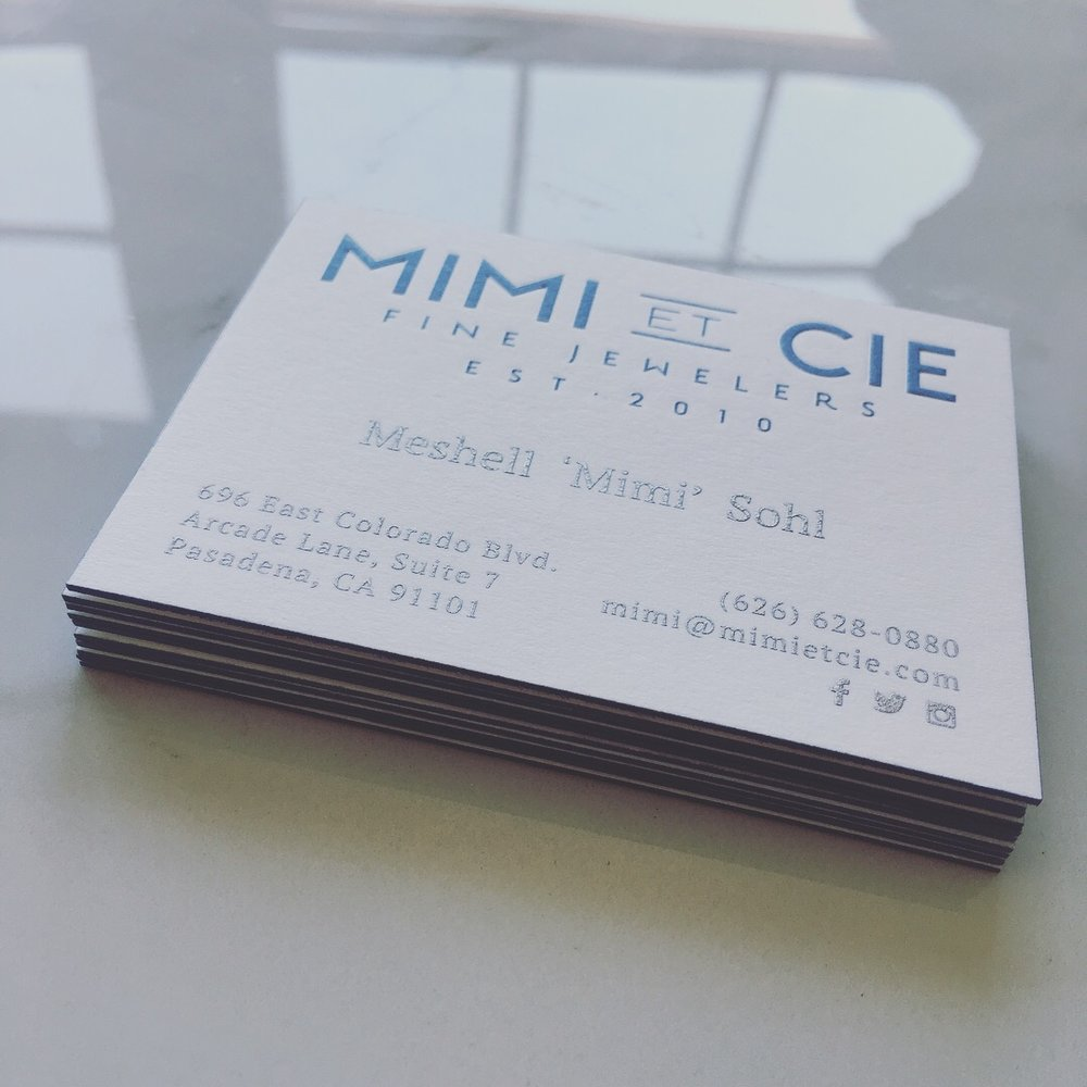 Engraved, 3-ply, edge painted business cards