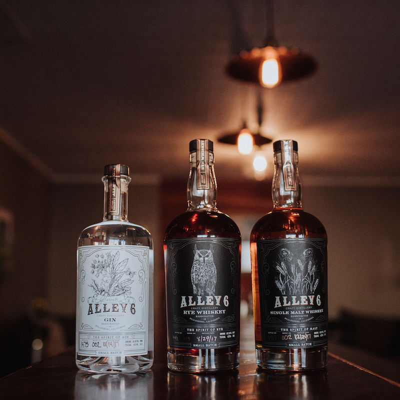 harvest gin and rye whiskey made at Alley 6 craft distillery in Healdsburg, California