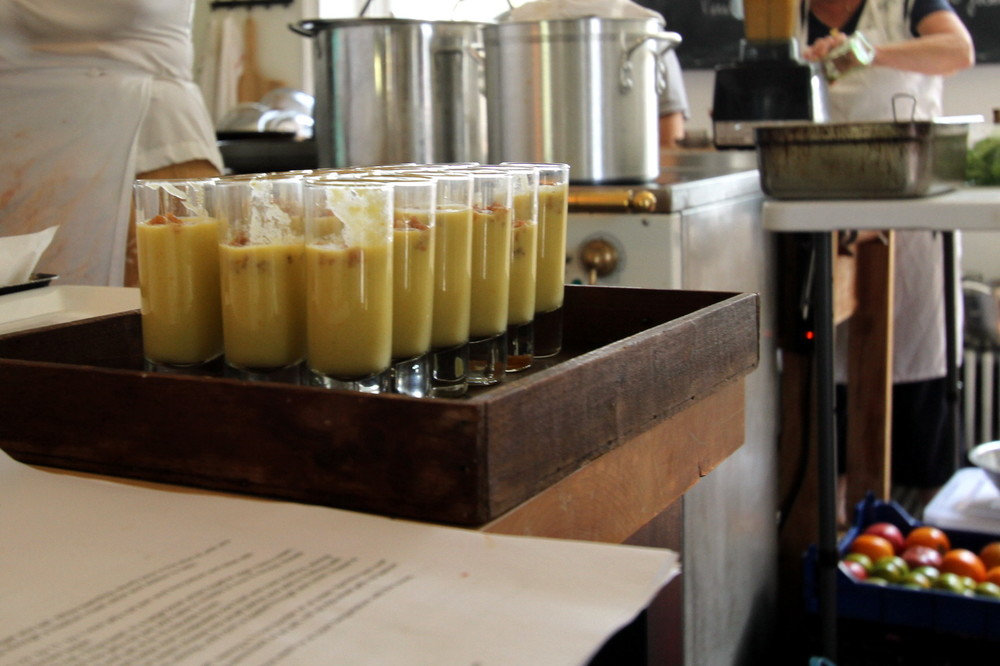 Yellow Tomato Gazpacho Shooters