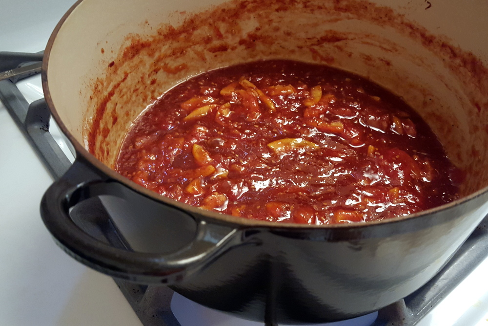 Sweet Tomato Jam on the Stove