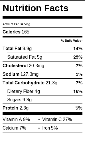 nutritional label for celery root and apple soup