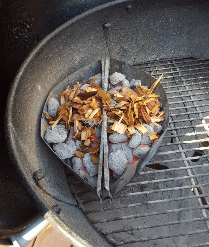 soaked wood chips on grill