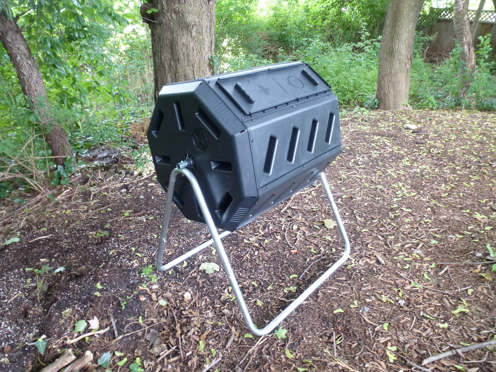 The compost tumbler I assembled and put out back.