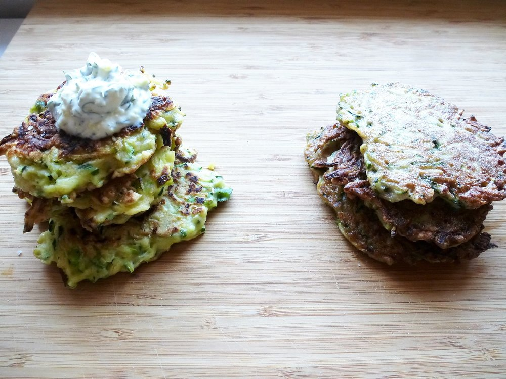 Zucchini Fritters with Lemon & Dill Crème Fraîche (left) and Cardamom & Cinnamon (right)