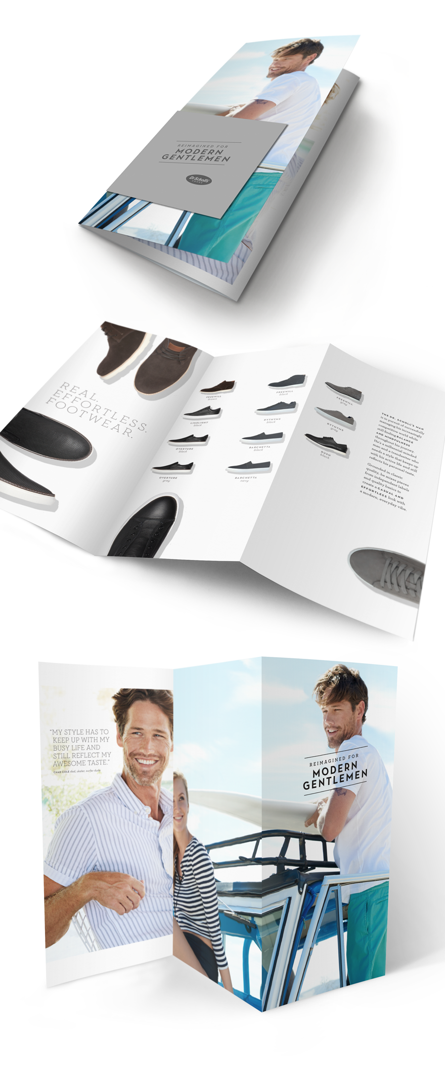 Dr. Scholl's Men's launch brochure. Art director:  Laura Coggins | Photographer:  Anne Menke