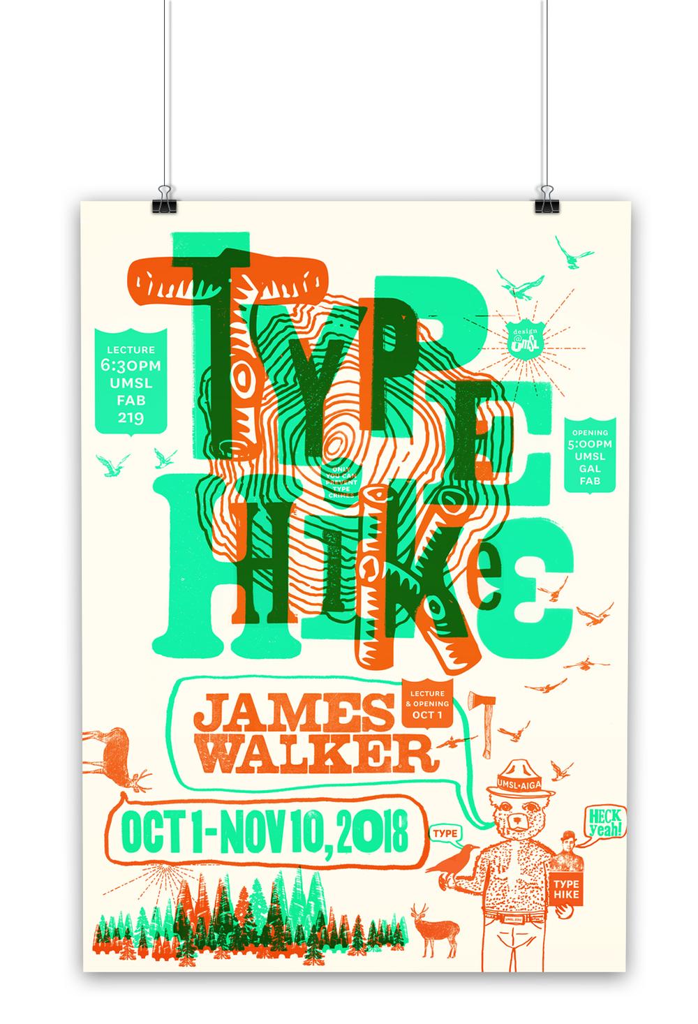 James Walker  /  Type Hike NPS 100  Show at UMSL poster.  Silkscreen with    Jen McKnight    and Liz Buchta.