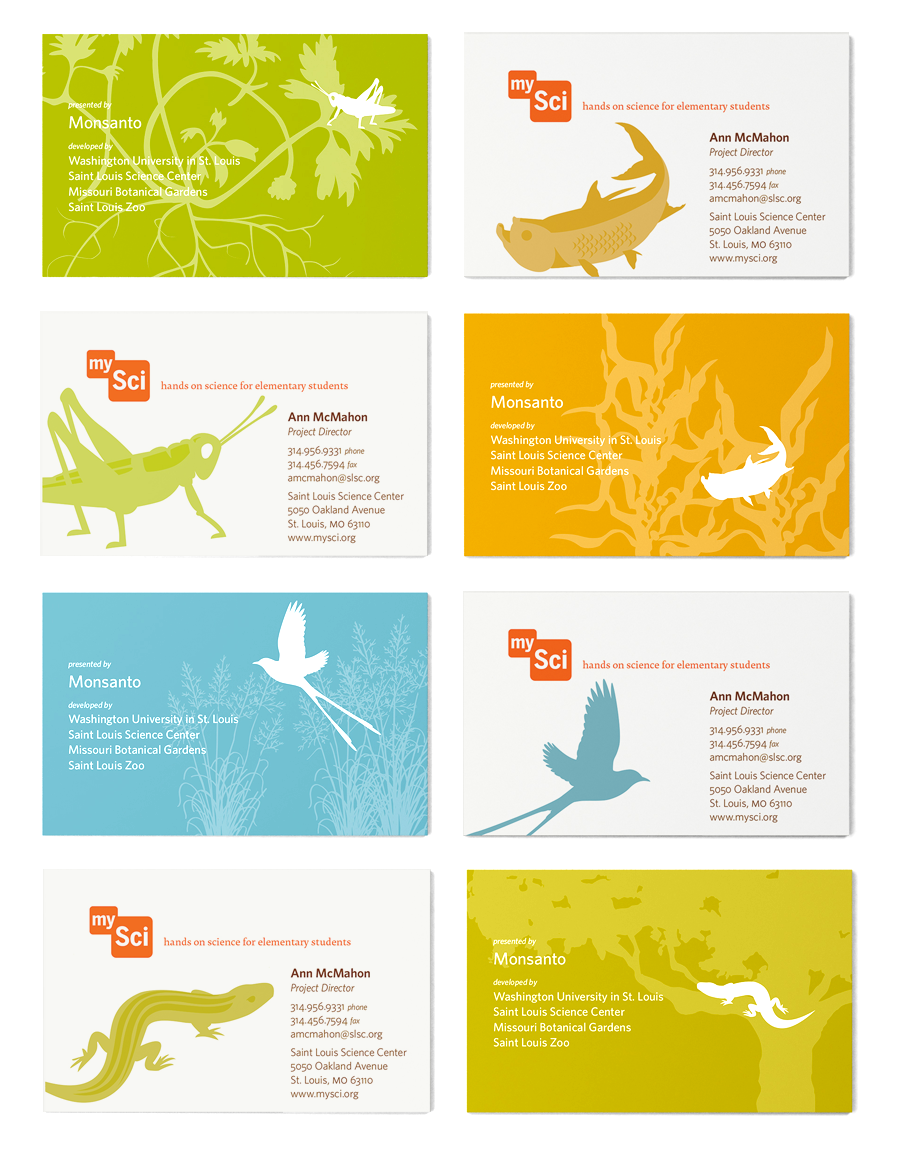 The identity system utilized the illustrations and bright color palette as much as possible, distinguishing the science program as a unique visual learning experience.