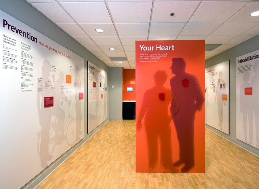 The 250 square foot space was a challenge to design within. We utilized every wall surface and even built a freestanding structure to give us more. Content was divided into six categories: Prevention, Diagnostics, Conditions, Function, Intervention, and Rehabilitation. The viewer can move counter clockwise within the space, but each panel can stand on its own, as well.