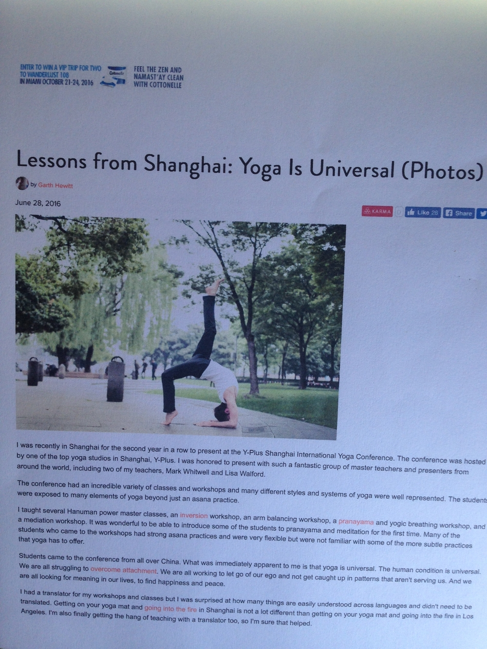 Lessons from Shanghai:  Yoga is Universal by Garth Hewitt