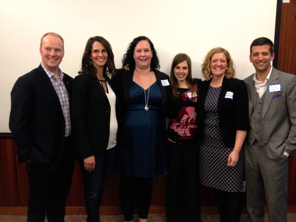 "We were very lucky to have the following members of Avenue Magazine's ""Top 40 Under 40"" at Steps to Success. From left to right, Stewart McDonough, Shauna MacDonald, Colleen Pound, Hilary Johnson (CPRS volunteer/event organizer), Lauren Herschel and Tyler Chisholm"