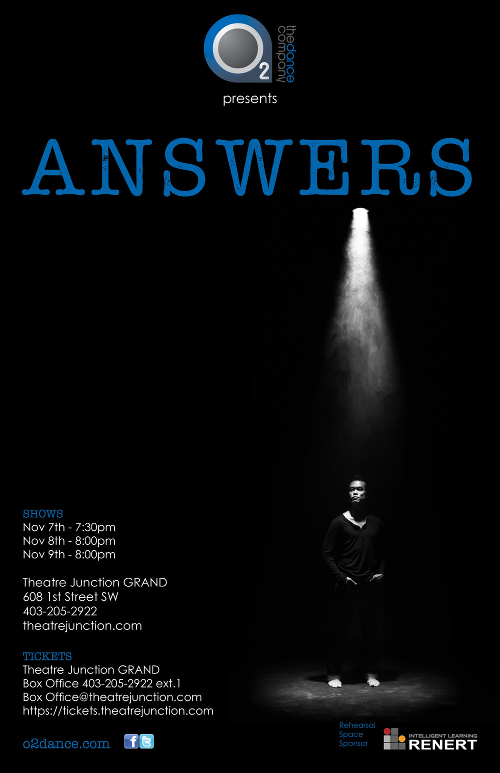 "Come join us from November 7-9 as O2 Dance Company presents ""Answers""."