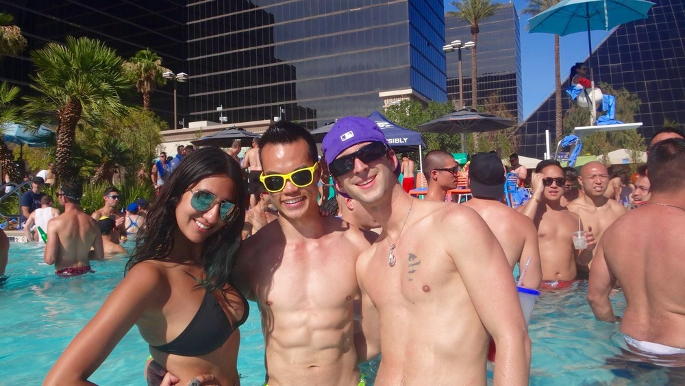 My friends Sim (left) and Sylvain (right) and I at the Luxor hotel's Sunday pool party during EDC weekend.
