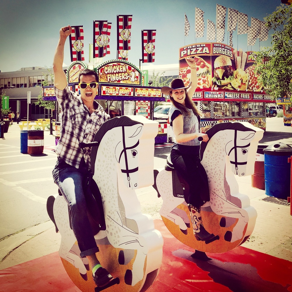 Me and my friend Madeline horsing around at the 2015 Calgary Stampede, a few hours before the gates officially opened.