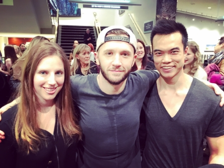 Madeline and I were very excited to meet the amazing Travis Wall (centre).