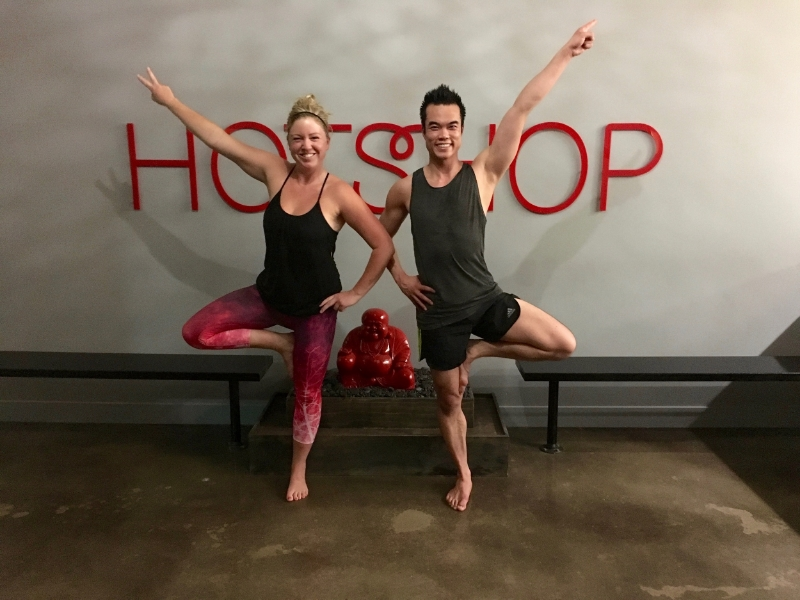 Hotshop instructor Brenna Snowdon and myself groove it out at a Yoga Vibe session.