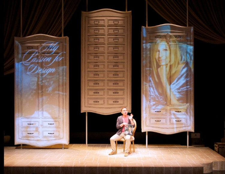 David Fraser's beautiful set helps captures the essence of what a mall in Barbra Streisand's basement would be like. Photo credit: Alberta Theatre Projects