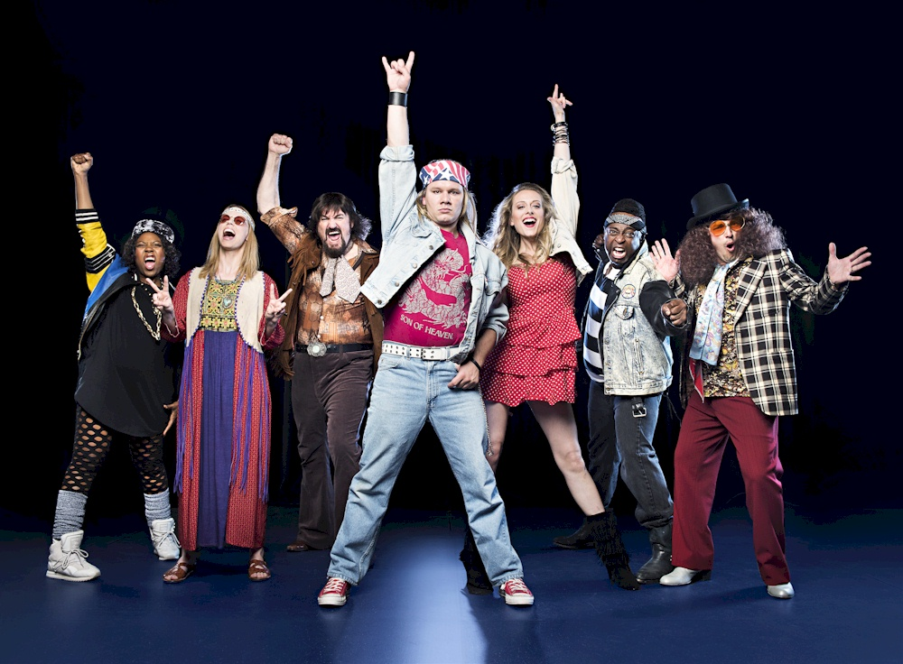 """The Arts Club's cast of """"Rock of Ages"""". Photo credit: The Arts Club."""