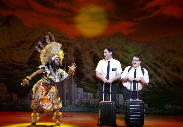 The Book of Mormon is a humourous take on the clash between cultures. From left to right: Monica L. Patton, Ryan Bondy and Cody Jamison Strand. Photo credit: Joan Marcus