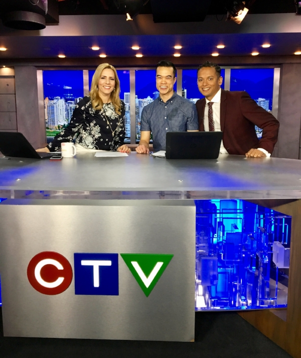 From left to right: Keri Adams, myself and Jason Pires on the set of CTV Morning Live Vancouver.