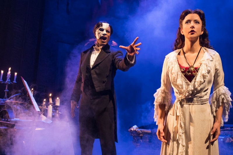 Derrick Davis and Katie Travis as the Phantom and Christine. Photo credit: Matthew Murphy