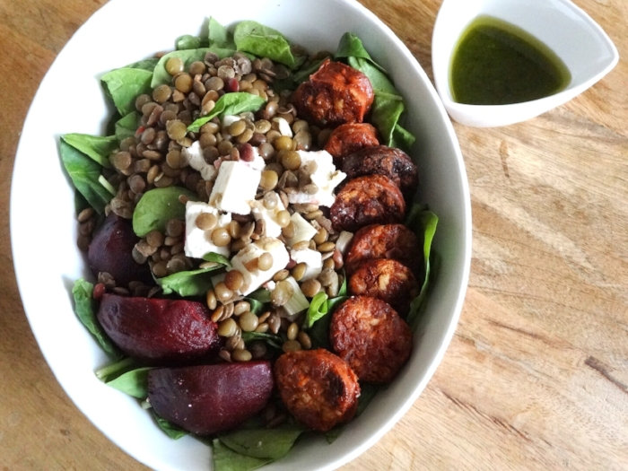 The Chorizo Power Salad: fresh lentils, spinach, gluten free spicy Italian chorizo, feta cheese, toasted sunflower seeds, fennel, beetroot, spinach & honey-dijon-tarragon dressing (red wine vinegar, olive oil, dijon, honey, lemon, tarragon).