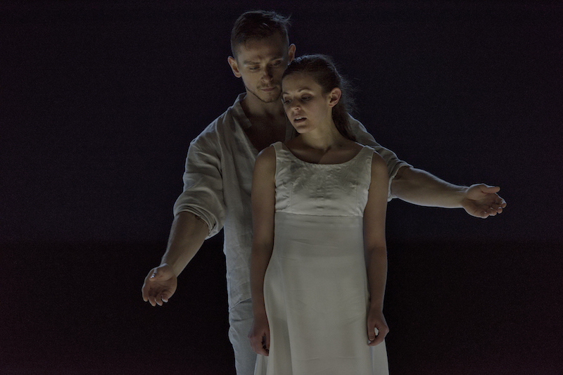 Brandon Alley and Emily Chessa as Romeo and Juliet. Photo credit: Michael Slobodian
