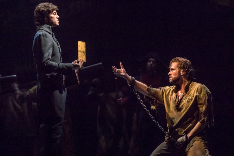 Josh Davis as 'Inspector Javert' and Nick Cartell as 'Jean Valjean'. Photo credit: Matthew Murphy