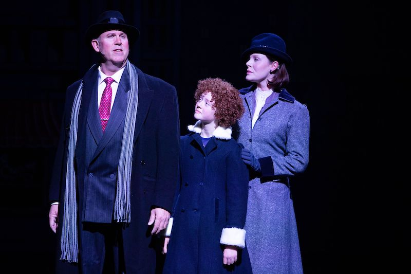From left to right: Arne Larsen as Oliver Warbucks, Camryn Macdonald as Annie, and Laura Cowan as Grace. Photo credit: Anita Alberto
