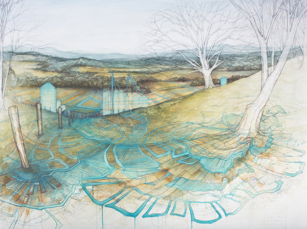 "Carly Drew, ""Contested Grounds Series II.""  Paper mounted on panel. Watercolor, graphite, acrylic. 34 x 48in. 2014.    SOLD."
