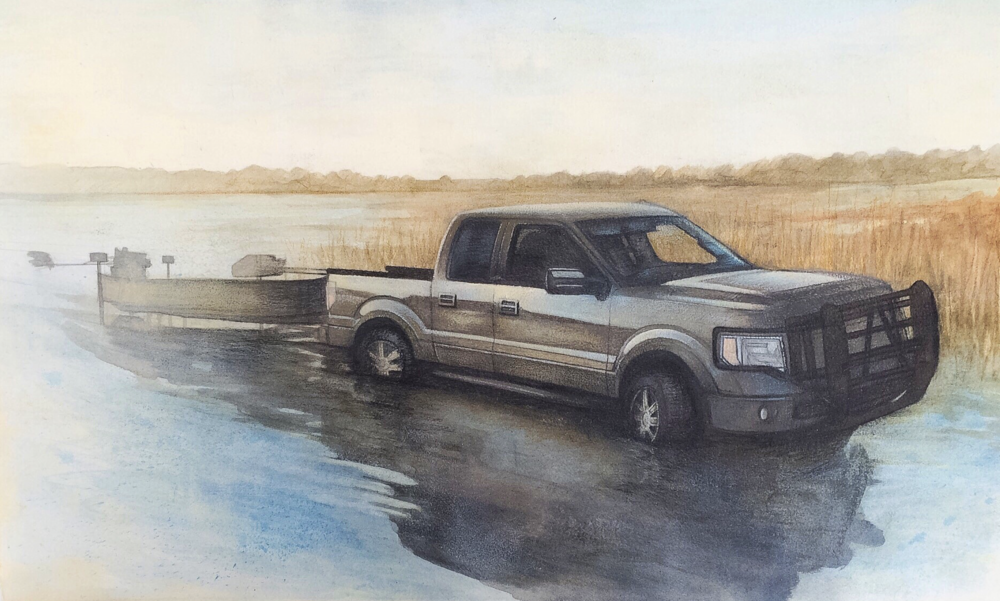 """Carly Drew,""""The Sublime Nature of a Ford at Sunrise""""   Paper, watercolor, graphite, acrylic, prismacolor.11 x 18in.2015. SOLD."""